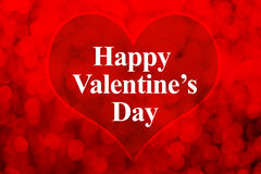 Happy Valentines day word and heart shape on red bokeh light bac Stock Images