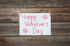 Happy Valentines Day, write on paper, close up Stock Images