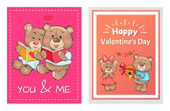 Happy Valentines Day You and Me Posters Set, Teddy. Bears in love reading books, presents hive full of honey to lovely girlfriend, greeting cards design royalty free illustration