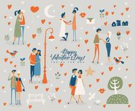 Happy Valentines Day. You are the one. Valentines day greeting card in vintage style with cute couples Stock Photos