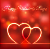 Happy Valentines greeting card. hearts red blurred background Stock Photos