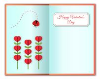 Happy valentines greeting card of love and Valentine`s Day. Heart shape flowers and lady bug. Cute pink flowers and. Heart. Paper art and craft style. Modern Stock Photos