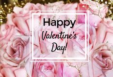 Valentine`s Greeting Card with Roses Flowers Background royalty free stock photos