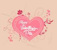 Happy valentines with heart florals stock illustration