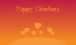 Happy Valentines with heart orang backgrounds. Illustration Stock Images