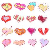 Happy valentines hearts set Stock Photos