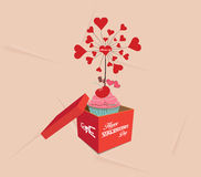 Happy valentines open the gift Royalty Free Stock Images