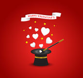 Happy Valentines postcard with hearts coming out of the hat magi Royalty Free Stock Photo