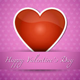 Happy Valentines's Day. Card with big red heart, shadow and text on pink background Stock Image