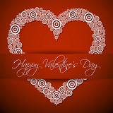 Happy Valentines's Day. Card with big white heart, shadow and text on red background Stock Photography