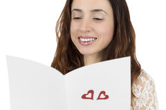 Happy valentines woman reading love letter Stock Image