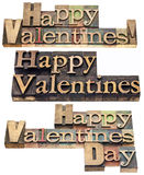 Happy Valentines in wood type Royalty Free Stock Image