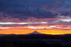 Happy Valley Oregon Mt Hood View Sunrise. Happy Valley Oregon with Mt Hood View during Sunrise with Colorful Dramatic Sky royalty free stock photos