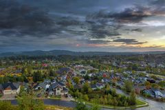 Happy Valley Residential Neighborhood during Sunset. Aerial view of Happy Valley Oregon residential suburban neighborhood in Fall season during sunset Royalty Free Stock Photo