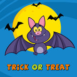 Happy Vampire Bat Character Greeting Card Stock Photo