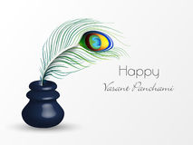 Happy Vasant Panchami celebration with ink pot and feather. Stock Image