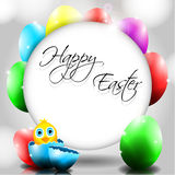 Happy Vector Background with Chick in Broken Egg Royalty Free Stock Photography