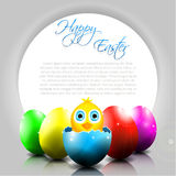 Happy Vector Background with Chick in Broken Egg Royalty Free Stock Images