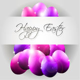 Happy Vector Background with Flying Purple Eggs. And text Stock Images