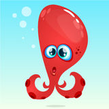 Happy vector cartoon octopus. Vector red octopus surprised.   on underwater background. Stock Images