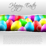 Happy Vector Easter  Background with Colorful Eggs. And place for your text and torn paper and text Royalty Free Stock Photography