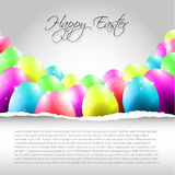 Happy Vector Easter  Background with Colorful Eggs. And place for your text and torn paper Stock Image