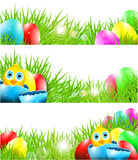 Happy Vector Easter Backgrounds with Chick in Brok Stock Photography