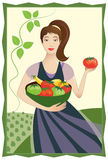 Happy Vegetable Garden Lady. Vector illustration of smiling pretty woman holding big bowl of fresh tomatoes and squash in front of a farm fields background Stock Images