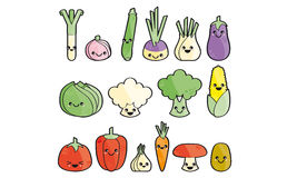 Happy vegetables. Vegetables cartoon with eyes and mouth Stock Images
