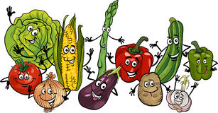 Happy vegetables group cartoon illustration stock images