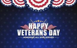 Happy Vererans Day Background Design with Cross Wavy Flag and Go. Lden Stars. Honoring All Who Served. Vector illustration Royalty Free Stock Image