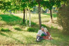 Happy and very old people sitting in the park. Happy and very old people sitting in the park royalty free stock images