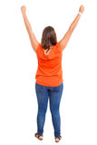 Happy !. Very happy woman raising her arms and celebrating Royalty Free Stock Photos