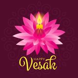 Happy vesak day banner with yellow candle light on pink lotus vector design Stock Image