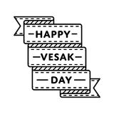 Happy Vesak day greeting emblem. Happy Vesak day emblem isolated vector illustration on white background. 10 may world buddhistic holiday event label, greeting Royalty Free Stock Images