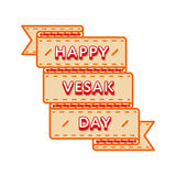 Happy Vesak day greeting emblem. Happy Vesak day emblem isolated vector illustration on white background. 10 may world buddhistic holiday event label, greeting Stock Image