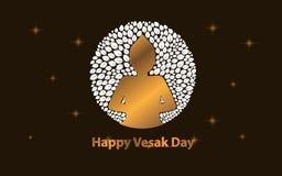 Happy Vesak day with leaf and gold color vector illustration