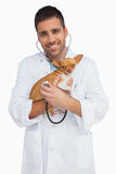 Happy vet checking dog with stethoscope Stock Photography