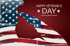 Happy veteran`s day poster or banners – On November 11. USA flag as a background. Captain saluting the USA flag for memorial day. Happy veteran`s day Royalty Free Stock Images