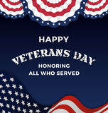 Happy Veterans Day. And Background With Wavy USA Flag Design. Vector illustration stock illustration