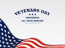 Happy Veterans Day. And Background With Wavy USA Flag Design. Vector illustration Royalty Free Stock Photography