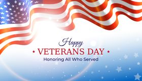 Happy veterans day banner. Waving american flag on blue sky background with stars. US national day november 11. Poster, typography