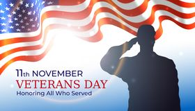 Happy veterans day banner, waving american flag, silhouette of a saluting us army soldier veteran on blue sky background. US