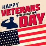 Happy veterans day. Card template. Vector illustration royalty free illustration