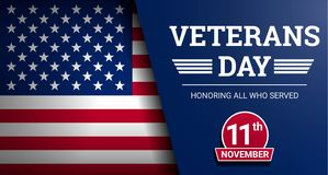 Happy veterans day concept background, realistic style stock illustration