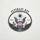 Happy veterans day. Detailed elements. Old retro vintage grunge. Scratched, damaged, dirty effect. Typographic labels, stickers,  Stock Images