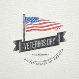 Happy veterans day. Detailed elements. Old retro vintage grunge. Scratched, damaged, dirty effect. Typographic labels Stock Photo