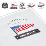 Happy veterans day. Detailed elements. Old retro vintage grunge. Scratched, damaged, dirty effect. Typographic labels Royalty Free Stock Photos