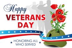 Happy veterans day. Festive poster with an American ribbon, silhouettes of soldiers, military helmet with flowers and greetings stock illustration