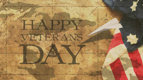 Happy Veterans Day. Flag and Paper Airplane. Mimetic Clouds Royalty Free Stock Images